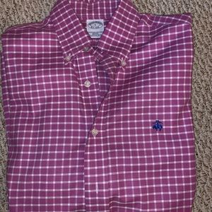 Men's fuchsia long sleeve Oxford shirt